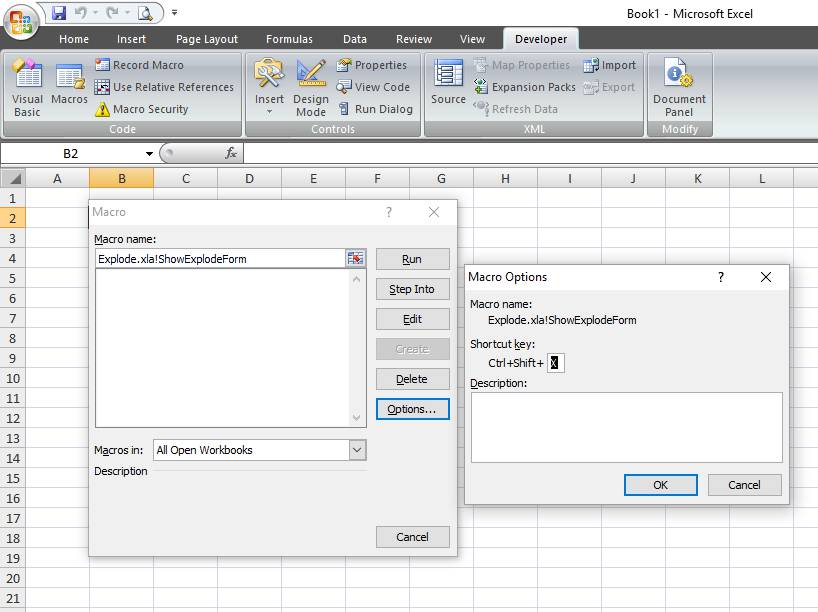 How to assign a shortcut key to the Explode Excel addin