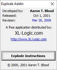 Explode Excel Addin - download Latest 2008 version