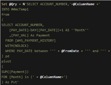 How to pivot data by month in SQL and output to a temporary table